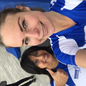Yeah! Me and Joanna before our race. We are ready!